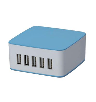 CARGADOR PARED COOLBOX RT-5 USB BLANCO-AZUL - CG03CB05