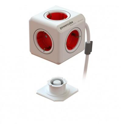 PowerCube rojo 4 tomas + cable 1.5 m