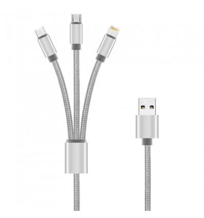 CABLE GRIS 3 EN 1 UNOTEC 8 PIN / MICRO USB / USB-C