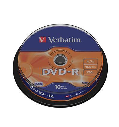 BOBINA VERBATIM DVD-R 4.7GB 16X 10UD P/N 43523 - BD01VB03