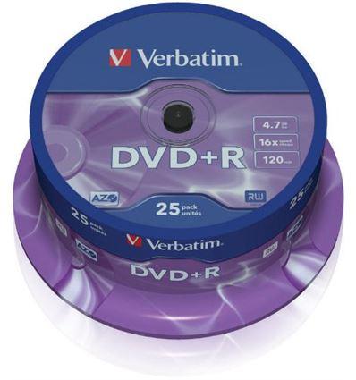 BOBINA VERBATIM DVD+R 4.7GB 16X TUBO 25UD P/N43500 - BD01VB02-1
