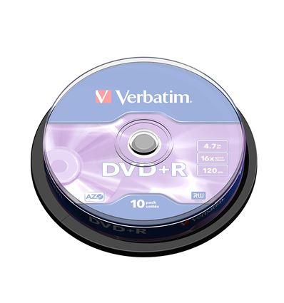 BOBINA VERBATIM DVD+R 4.7GB 16X 10 UD P/N43498 - BD01VB01