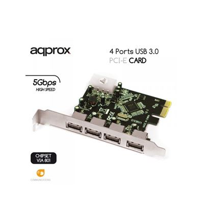 TARJETA APPROX PCIE 4 PUERTOS USB 3.0 APPPCIE4 - APPPCIE4P