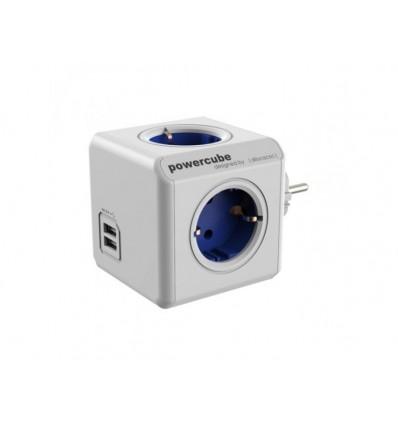Regleta PowerCube Azul 4 tomas + 2 USB